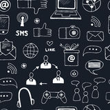 Seamless pattern with doodle sketch business icons Royalty Free Stock Photo