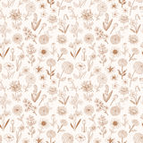 Seamless pattern with doodle sketch flowers. Can be used for wallpaper, pattern fills, textile, web page background. Surface textures Stock Photo