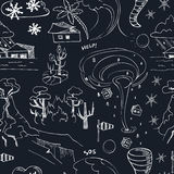 Seamless pattern with doodle sketch Natural disasters Royalty Free Stock Image