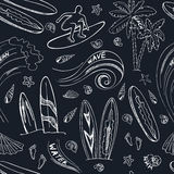 Seamless pattern with doodle sketch Surfing sport icons Royalty Free Stock Photo