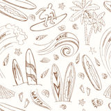 Seamless pattern with doodle sketch Surfing sport icons Royalty Free Stock Image