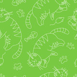 Seamless pattern with doodle sleeping cat. EPS 10 vector illustration for design Stock Image