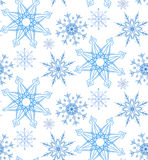 Seamless pattern with doodle snowflakes Royalty Free Stock Photo
