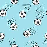 Seamless pattern with doodle soccer balls on blue. Vector football background Stock Images