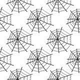 Seamless pattern with doodle spiderwebs. Vector Royalty Free Stock Photos