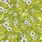 Seamless pattern with doodle spring flowers in green Stock Photo