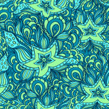 Seamless pattern with doodle starfishes in blue green Royalty Free Stock Photo