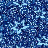 Seamless pattern with doodle starfishes in dark blue Stock Photos