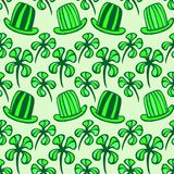 Seamless pattern. Doodle style four leaf clover, luck, or St. Patrick's Day vector illustration Royalty Free Stock Image