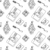 Zero waste pattern. Seamless pattern in doodle style with zero-waste and plastic-free items for kitchen. Sustainable household and green house. Stationery and vector illustration