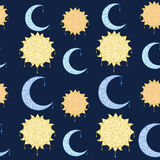 Seamless pattern doodle, sun and moon. Kids seamless pattern. Good night.  Hand drawn illustration Stock Images