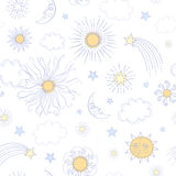 Seamless pattern with doodle sun. Moon, stars, clouds and comets in pastel colors on white background Royalty Free Stock Photo