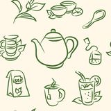 Seamless pattern. doodle tea set . Vector vector illustration