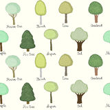Seamless pattern with doodle trees Royalty Free Stock Photos