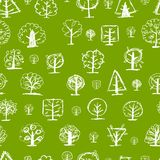 Seamless pattern, doodle trees for your design Royalty Free Stock Images
