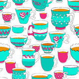 Seamless pattern of the doodle various bright colorful cup. Royalty Free Stock Photography