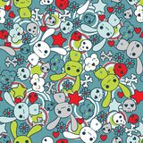 Seamless pattern with doodle. Vector kawaii stock illustration