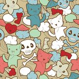 Seamless pattern with doodle. Vector kawaii Royalty Free Stock Photography