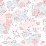 Seamless pattern with doodle. Vector kawaii Stock Photos