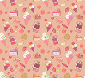 Seamless pattern with doodle vector kawaii illustration. Stock Photos