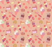 Seamless pattern with doodle vector kawaii illustration. Stock Photos