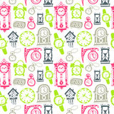 Seamless pattern with doodle watches and clocks Royalty Free Stock Image