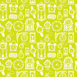 Seamless pattern with doodle watches and clocks. Royalty Free Stock Photos