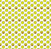 Seamless pattern with doodled smiles. Colored smiles. VECTOR background. Yellow faces. Stock Images