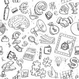 Seamless pattern of doodles on business theme Royalty Free Stock Photos