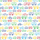 Seamless pattern of doodles cars. Royalty Free Stock Photo