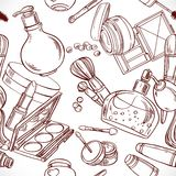 Seamless pattern from doodles on cosmetics Stock Images