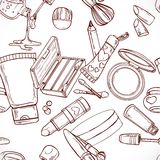 Seamless pattern from doodles on cosmetics cream,face powder... Royalty Free Stock Photo
