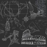 Seamless pattern of the doodles historic events on blackboard Stock Photography