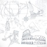 Seamless pattern of the doodles historic events Stock Images
