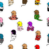 Seamless pattern with doodles of kids. Dressed up in animal costumes Stock Photography
