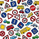Seamless pattern of doodles road signs and cars. Royalty Free Stock Image