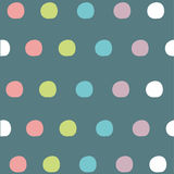 Seamless pattern dots-1. Cute seamless pattern colorful dots in blue color background Royalty Free Stock Photography