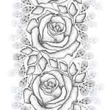 Seamless pattern with dotted black roses, leaves and stylized gray petals on the white background. Stock Photography
