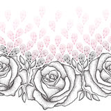 Seamless pattern with dotted black roses, leaves and stylized pink petals on the white background. Stock Photos