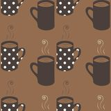 Seamless pattern with dotted coffee cups Royalty Free Stock Image