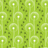 Seamless pattern with dotted dandelion in white.  Royalty Free Stock Images