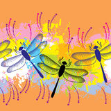 Seamless pattern with dotted dragonflies on the colorful blots background Royalty Free Stock Photos