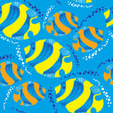 Seamless pattern with dotted fish and bubbles. Seamless pattern with dotted fish and colorful bubbles Royalty Free Stock Photography