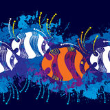 Seamless pattern with dotted fish in orange and in white.  Royalty Free Stock Images