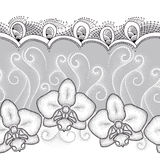 Seamless pattern with dotted moth Orchid or Phalaenopsis, white swirls and decorative lace on the gray background. Stock Photos