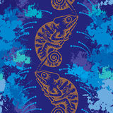 Seamless pattern with dotted orange Chameleon and blots Royalty Free Stock Photo