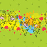 Seamless pattern with dotted parrots and hearts on the colorful blots background Stock Photo