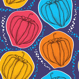 Seamless pattern with dotted Physalis or Cape gooseberry on the colorful background Royalty Free Stock Images