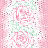 Seamless pattern with dotted pink roses, green leaves and decorative lace on the white background. Stock Photos