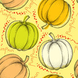 Seamless pattern with dotted pumpkins and red drops Royalty Free Stock Image